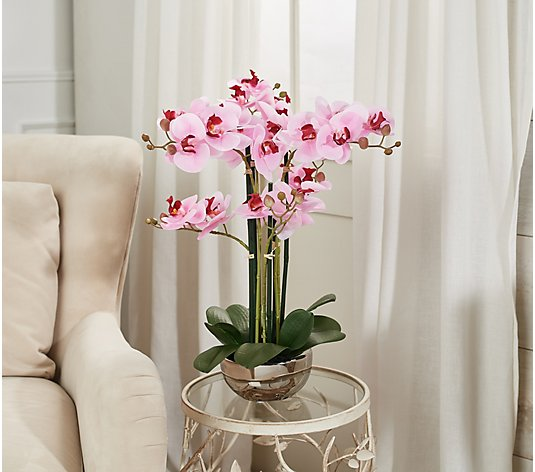"20"" Faux Orchid Plant in Metallic Pot by Valerie"