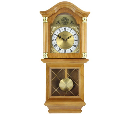 "Bedford Clock Classic 26"" Oak Finish Chiming Wall Clock"