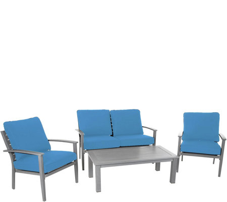 Cosco 4-Piece Veil Brushed Aluminum Patio Furniture Set