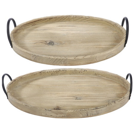 Set of 2 Farmer's Market Wooden Trays by Valerie