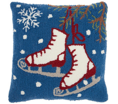 "Mina Victory Ice Skates Multicolor 18"" x 18"" Throw Pillow"