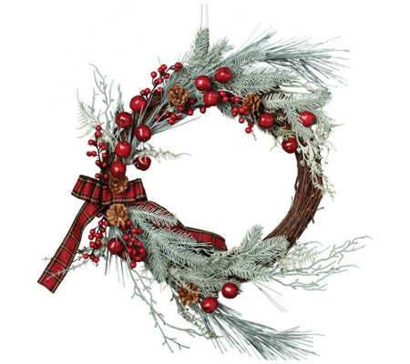 DII Holiday Berries & Pine Wreath 22""