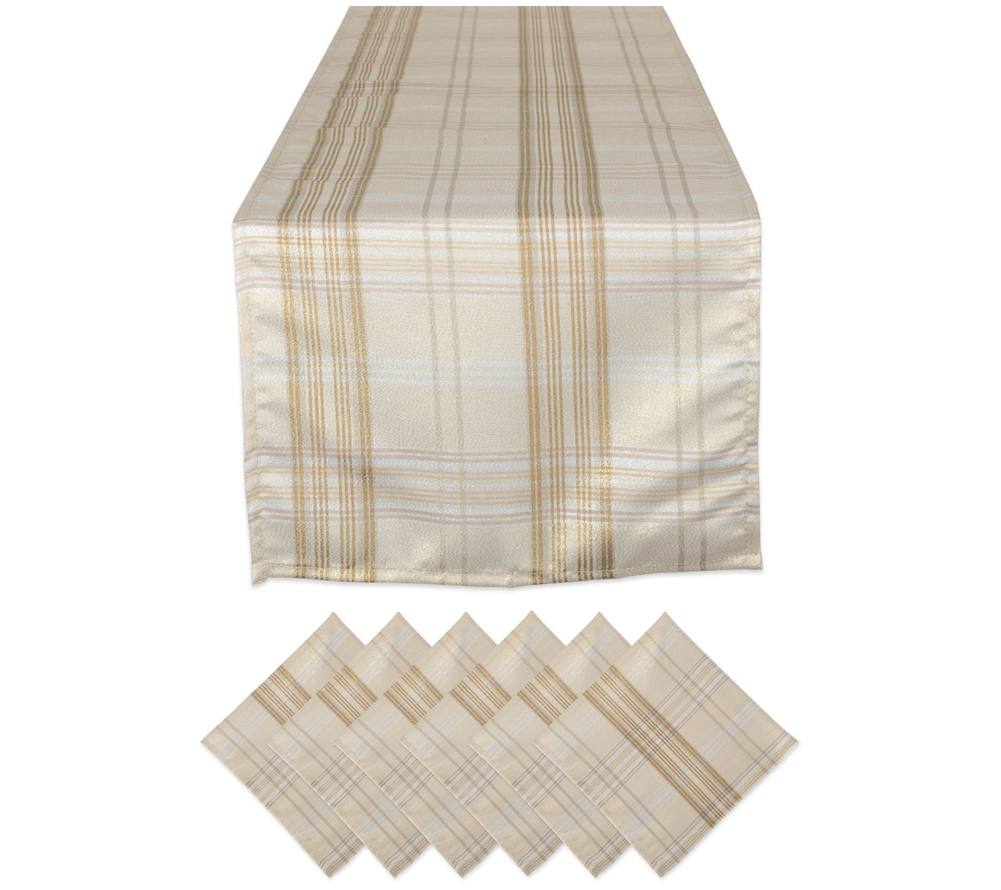 Cream metallic plaid table set