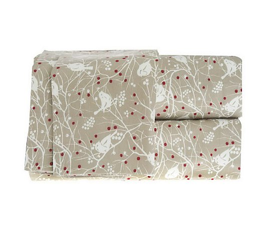 Northern Nights Winter Birds King Flannel Sheet Set Qvc Com