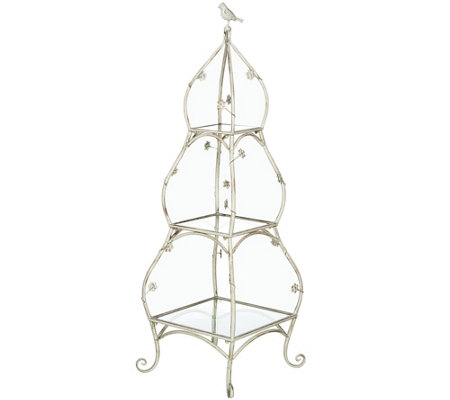 3-Tier Ivory Etagere with Birds and Flowers by Valerie