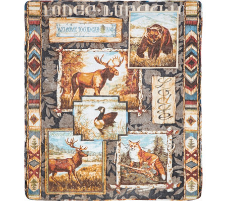 Lodge-Themed 100% Cotton Quilted Throw with Rod Pocket for Hanging