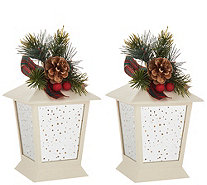 "Set of (2) 7"" Indoor/Outdoor Lanterns with Embellishment by Valerie - H215017"