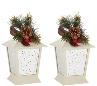 set of 2 7 indooroutdoor lanterns with embellishment by valerie - Qvc Outdoor Christmas Decorations
