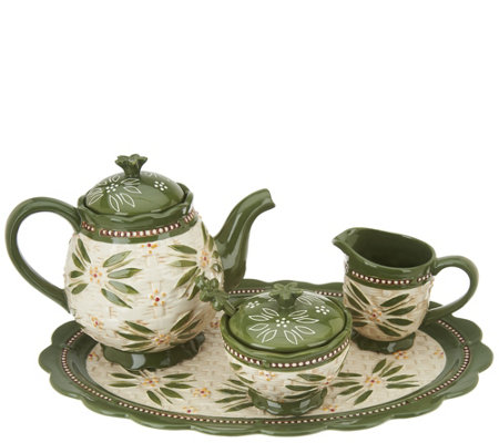 Temp-tations Old World Basketweave Tea Set