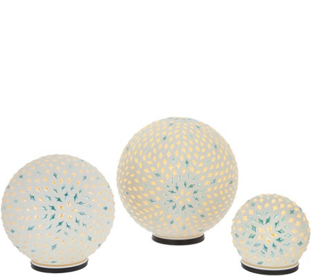 """As Is"" Casa Zeta-Jones Set of 3 Light Up Spheres"