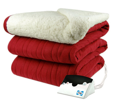 Biddeford Knit Heated Twin Size Blanket with Sherpa Back
