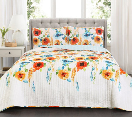 Percy Bloom Tangerine 3-Piece King Quilt Set byLush Decor