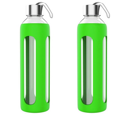 Classic Cuisine Set of (2) 20-oz Glass Water Bottles - Green