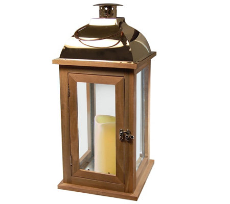 LumaBase Brown Wood & Copper Lantern with Flameless Candle