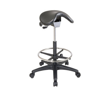 Office Star Black Backless Stool with Saddle Seat