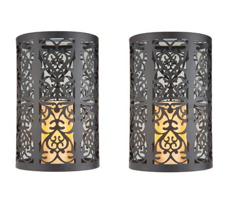 S/2 Mirror Wall Sconces with Flameless Candles w/Timer by Valerie  sc 1 st  QVC.com & S/2 Mirror Wall Sconces with Flameless Candles w/Timer by Valerie ...