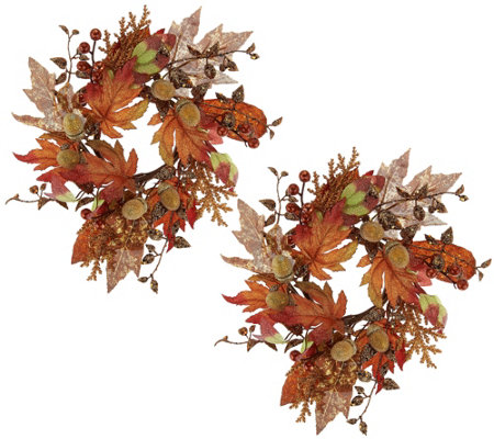 "Set of 2 Autumn Beauty 10"" Rings w/ Beaded Accents by Valerie"