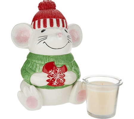 HomeWorx by Harry Slatkin Ceramic Mouse with Scented Candle Drop-In