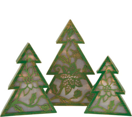 Plow & Hearth Set of 3 Metal Graduated Lit Poinsettia Tabletop Trees