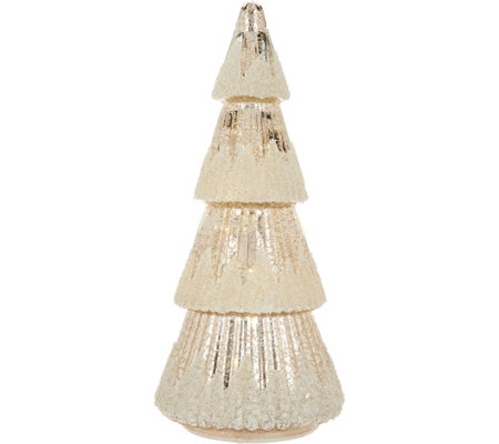 "15"" Illuminated Sugared Mercury Glass Tree with Timer by Valerie"