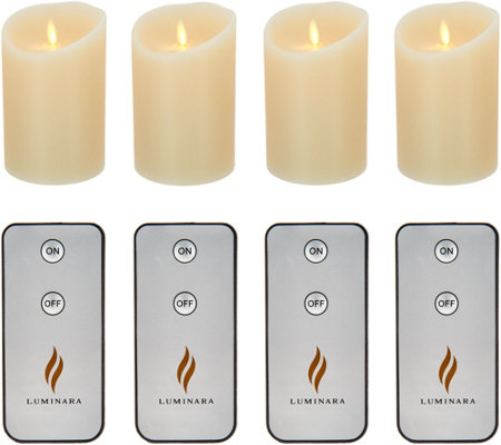 "Luminara Set of 4 5"" Flameless Candles with Remotes"