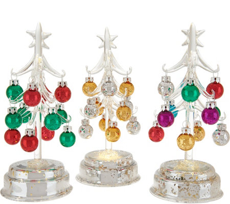 Kringle Express S/3 Glass Trees w/ Mercury Glass Base and Ornaments