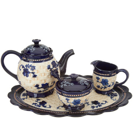 Temp-tations Floral Lace Basketweave Tea Set