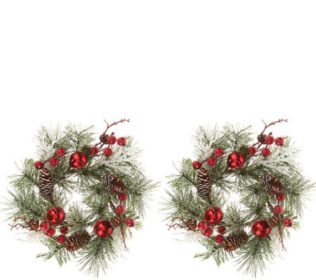 Set of 2 Jingle Bell and Pinecone Candle Rings by Valerie