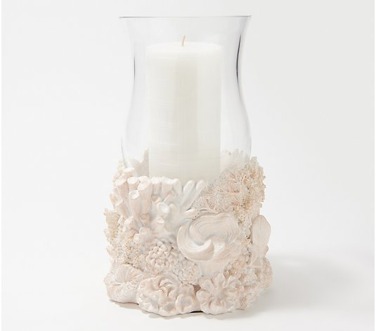 HomeWorx by Harry Slatkin Coral Hurricane with Pillar Candle