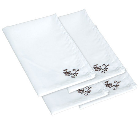 Temp-tations Set of 4 Floral Lace Basketweave Cloth Napkins
