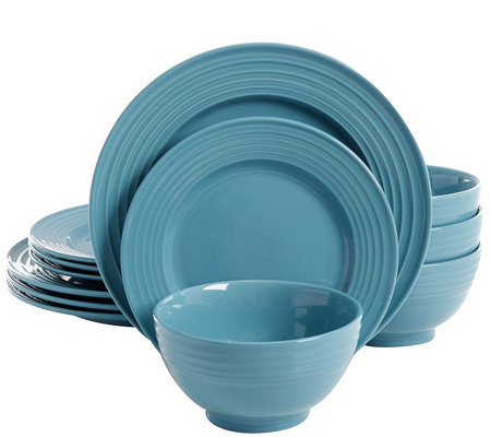Gibson Home Plaza Cafe 12 Piece Dinnerware Set Turquoise
