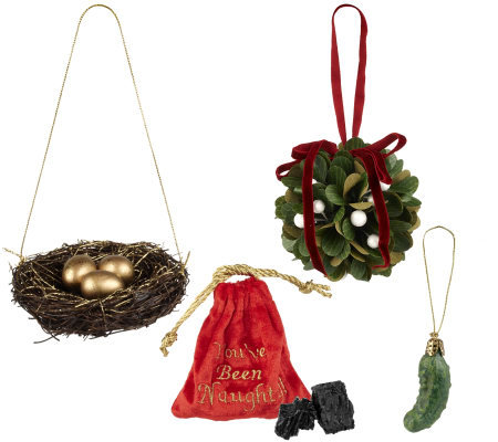 Roman Christmas Ornaments.Holiday Traditions 4 Piece Ornament Set By Roman Qvc Com