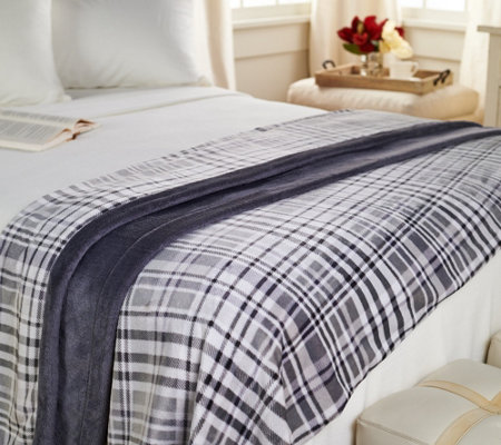Berkshire Blanket Queen Velvet Soft Plaid Blanket