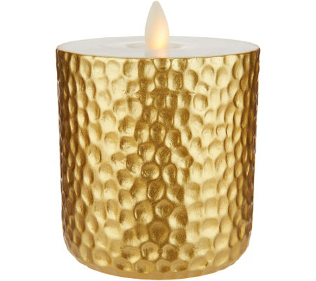 "Bethlehem Lights 4.5"" Hammered Metallic Touch Candle"
