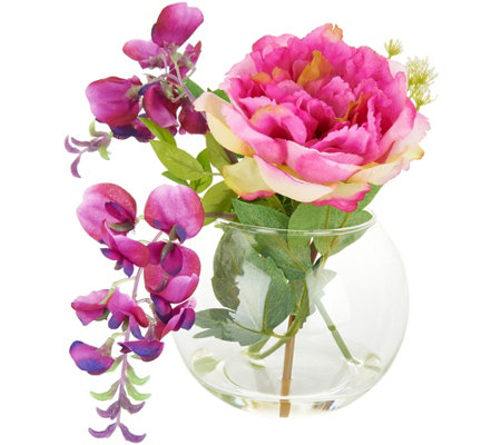 Wisteria, Peony and Cow Parsley in Rose Bowl by Peony
