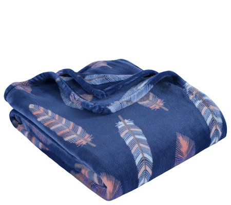 Berkshire Blanket VelvetLoft Navy Feathers Throw Blanket