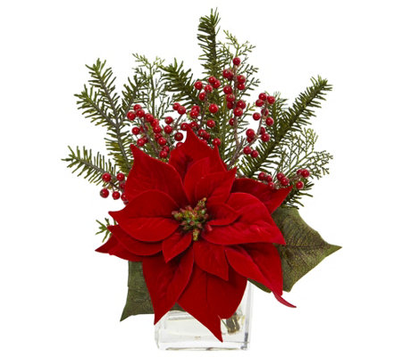 Poinsettia, Pine and Berries Arrangement by Nearly Natural
