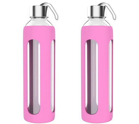 Classic Cuisine Set of (2) 20-oz Glass Water Bottles - Pink