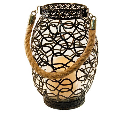 LumaBase Swirl Metal Lantern with Flameless Candle