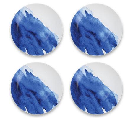Tarhong Set Of 4 Indigo Wash Ceramic Dinner Plates