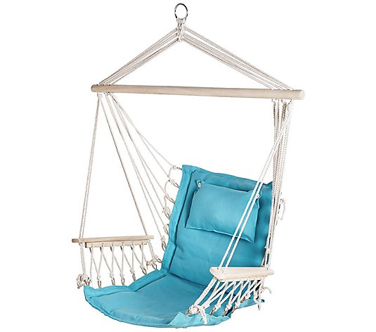 Hanging Hammock Chair With Wooden Armrests Qvc Com