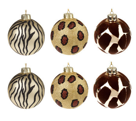 Set of 6 Embellished Animal Print Glass Ornaments - Page 1 — QVC.com