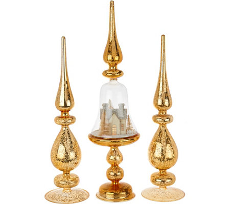 Set of 3 Illuminated Finials with Scene Detail by Valerie