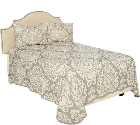 Chateau Damask Woven 100% Cotton Queen Jacquard Bedspread