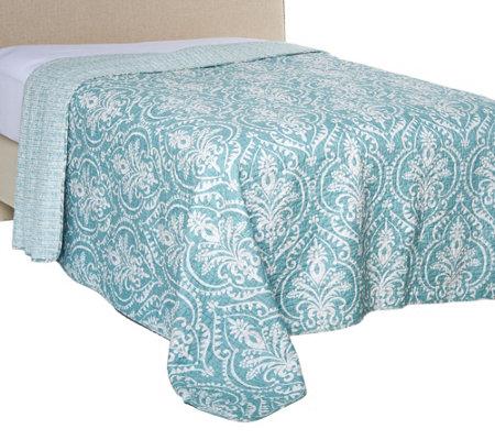 Verona 100% Cotton Damask Print Queen Quilted Bedspread