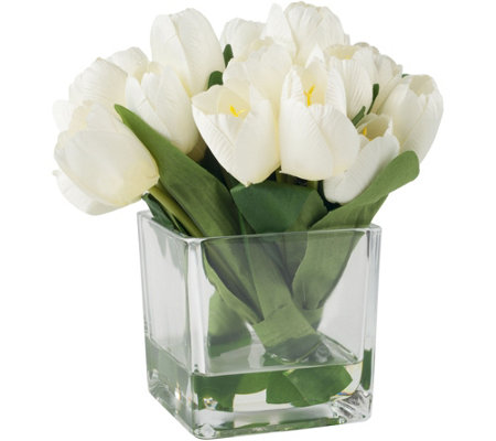 Cream Tulip Floral Arrangement with Glass Vaseby Pure Garden