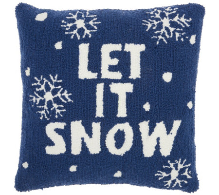 "Mina Victory Let It Snow Multicolor 18"" x 18"" Throw Pillow"