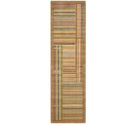 "Nourison Atlas 2' x 5'9"" Lines Gold Machine Made Rug"