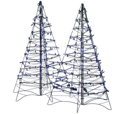 S/2 Pre-Lit LED 3' Fold Flat Outdoor Christmas Trees by Lori Greiner