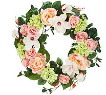 "24"" Spring Raspberry Rose and Magnolia Wreath by Valerie - H213721"